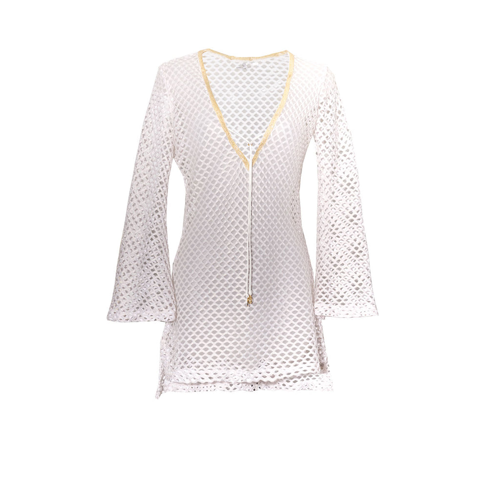 Cover Ups, Fitted Tunic with Bell Sleeves in Metallic White & Gold Net, Thalassa Boom Resort Wear
