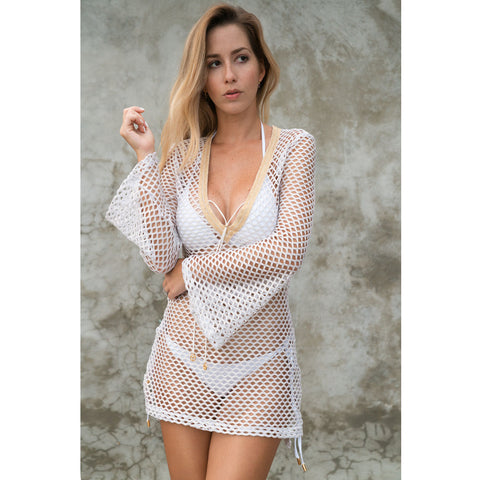 Fitted Tunic with Bell Sleeves in Metallic White & Gold Net