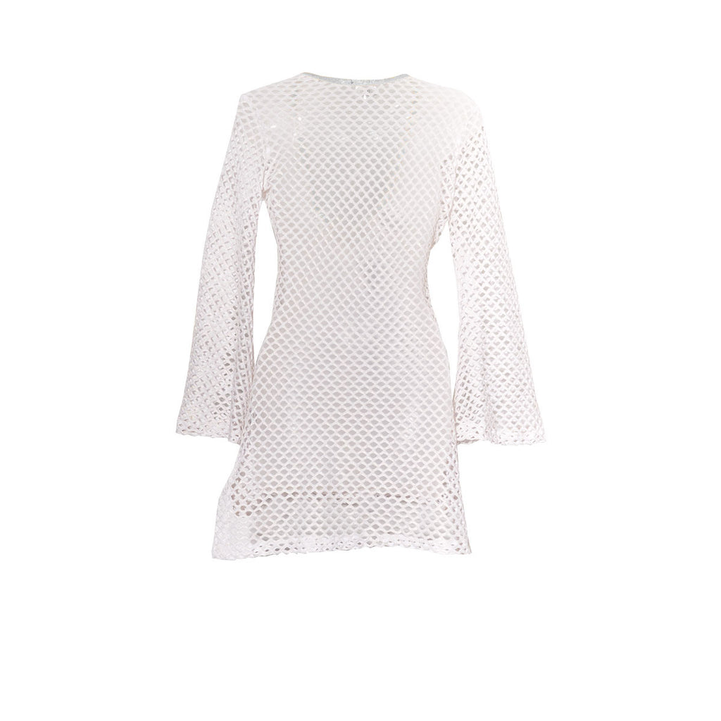 Cover Ups, Fitted Tunic with Bell Sleeves in Metallic White & Silver Net, Thalassa Boom Resort Wear