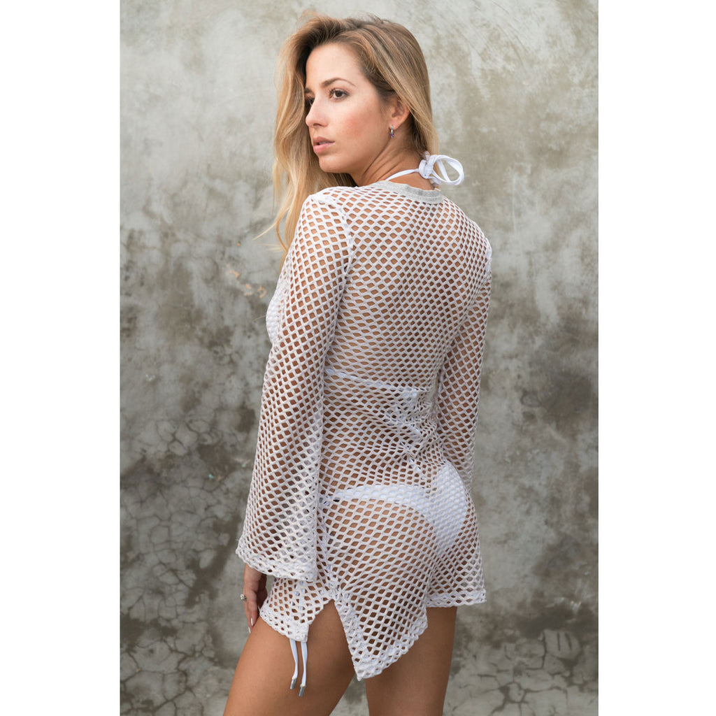 Fitted Tunic with Bell Sleeves in Metallic White & Silver Net -  Thalassa Boom