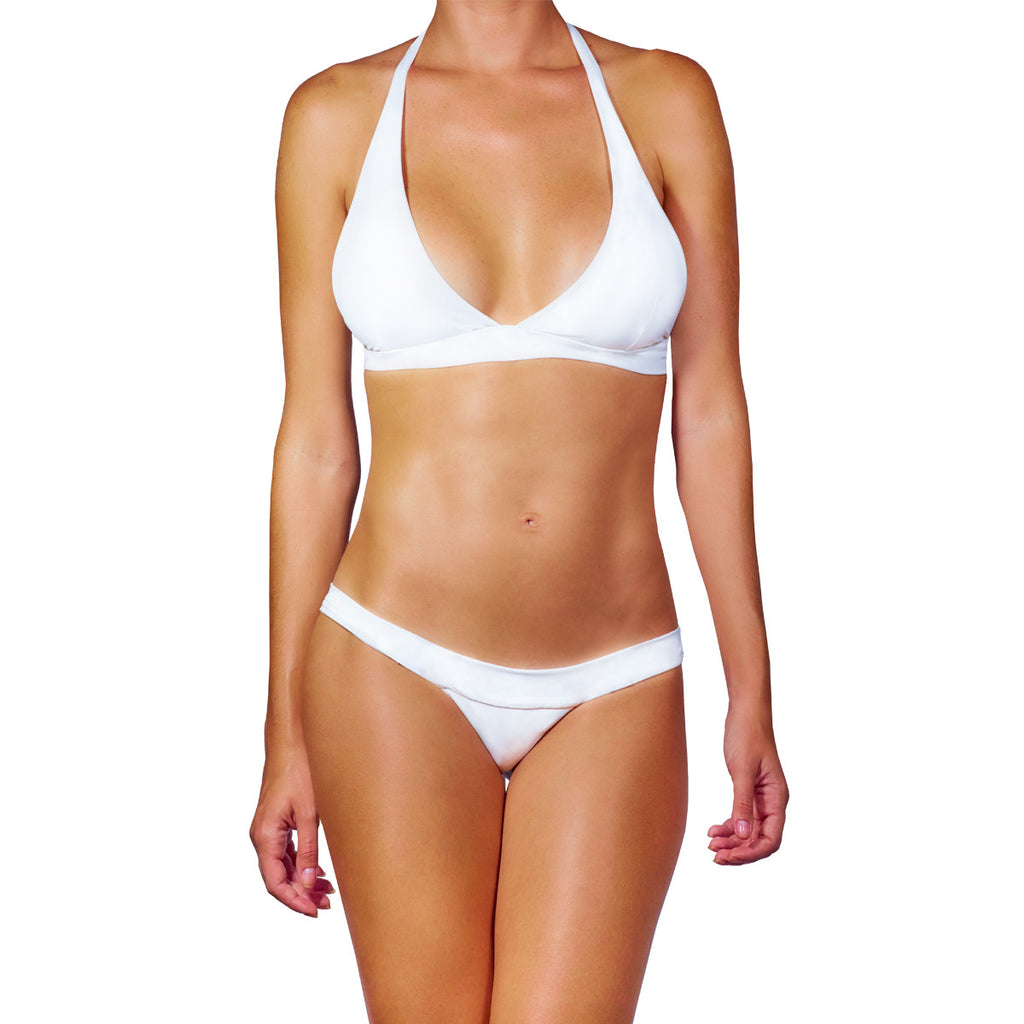 Thalassa Boom Resort Wear, White Solid Halter Bikini Top, Designer swimwear