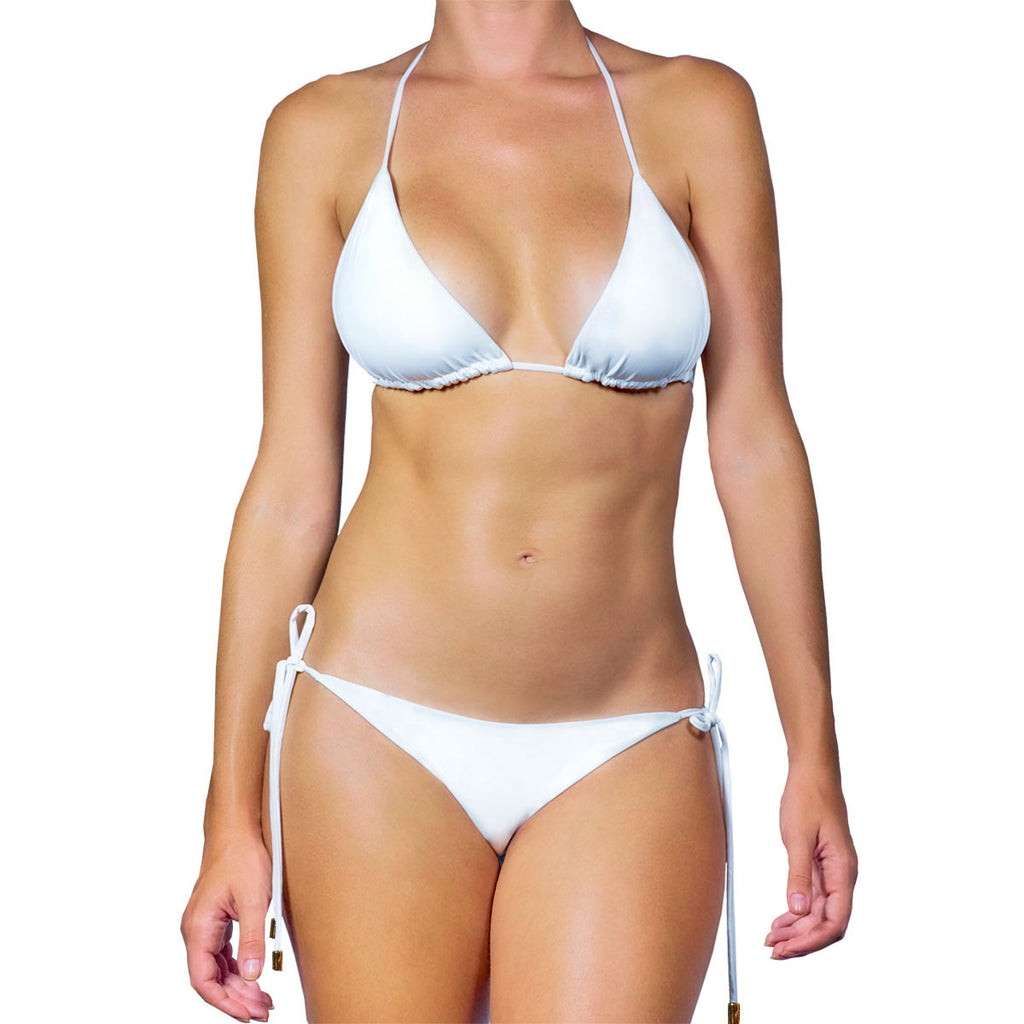 Thalassa Boom Resort Wear, White Solid Triangle Bikini Top, Designer swimwear