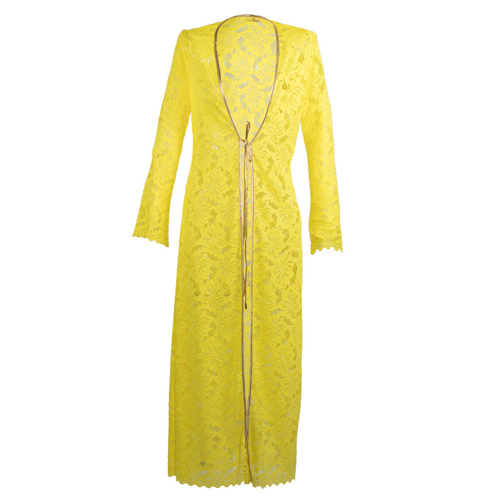 Cover Ups,  Long Kimono in Yellow Lace, Thalassa Boom Resort Wear