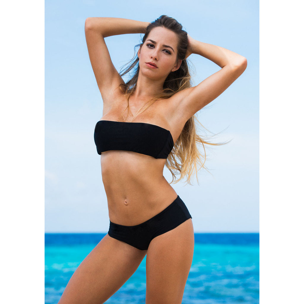 Thalassa Boom Resort Wear, Black Solid Boy Shorts Bikini Bottom, Designer swimwear