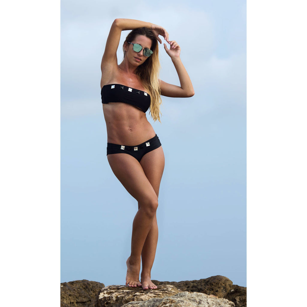 Thalassa Boom Resort Wear, Black Boy Shorts Bikini Bottom with Swarovski Crystals, Designer swimwear