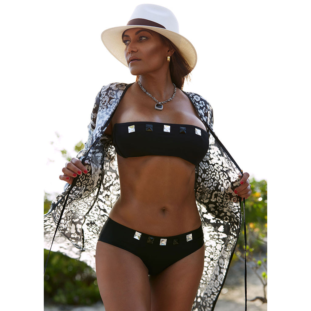 Black Boy Shorts Bikini Bottom with Swarovski Crystals -  Thalassa Boom