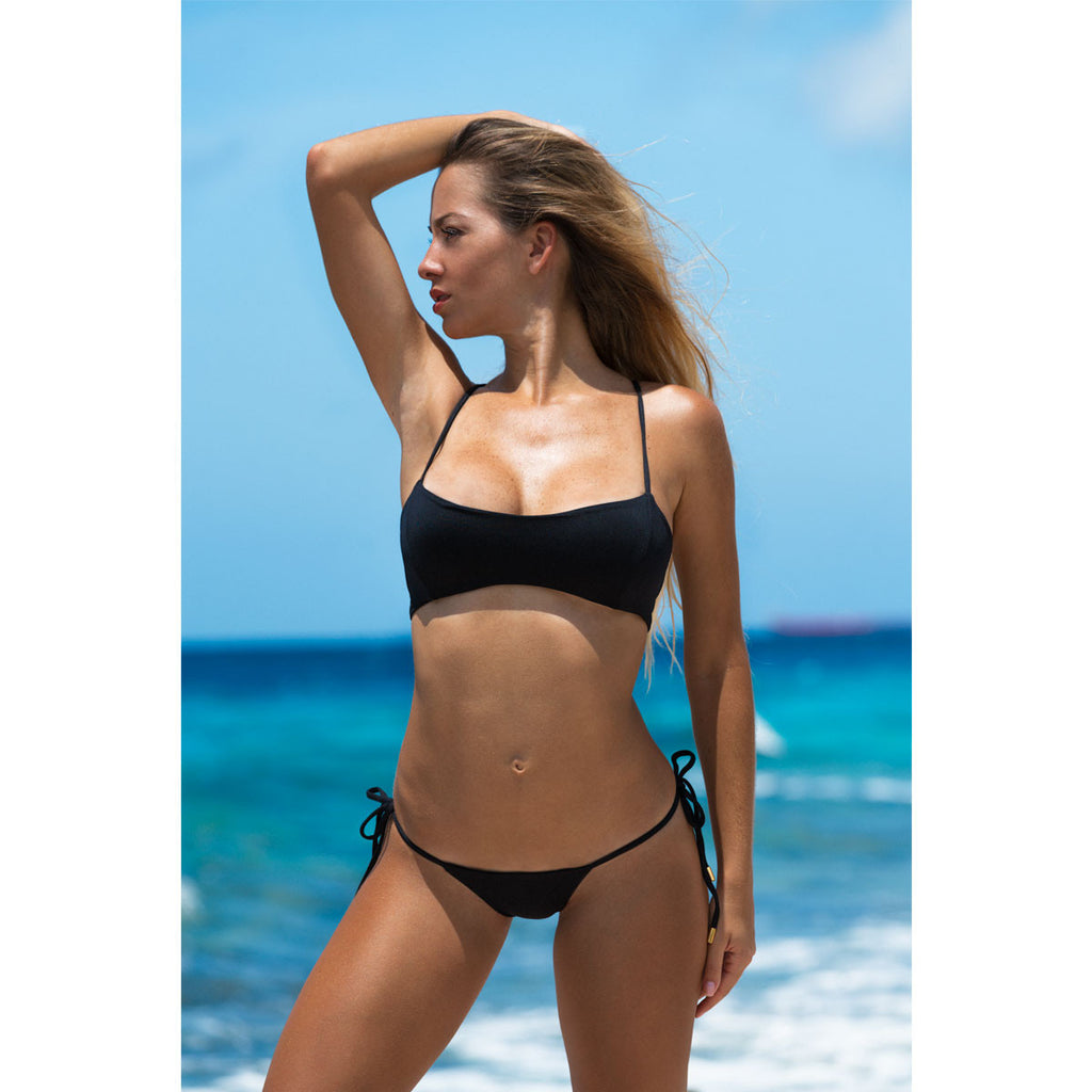Thalassa Boom Resort Wear, Black Solid Bralette Bikini Top, Designer swimwear