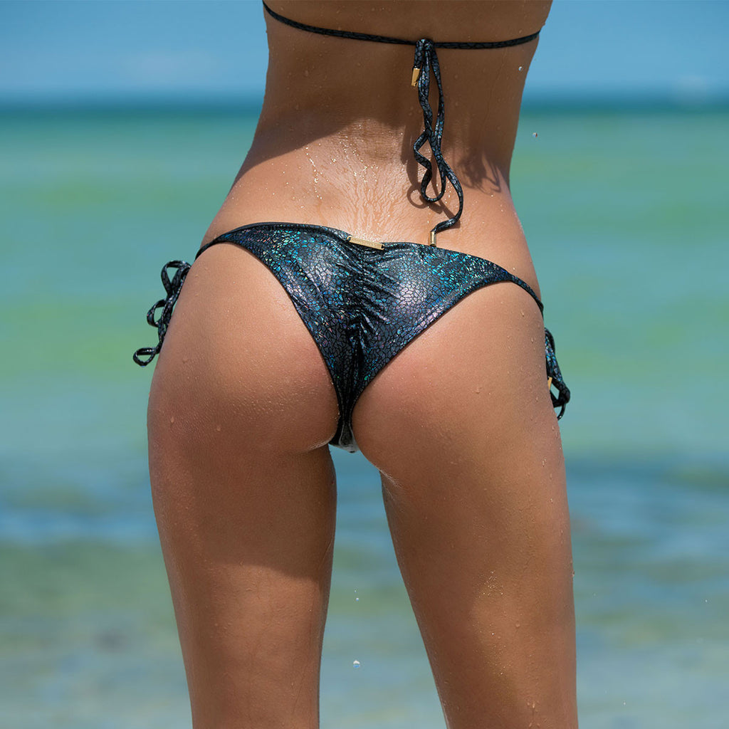 Crack Black Ruched Back Tie Sides Bikini Bottom -  Thalassa Boom