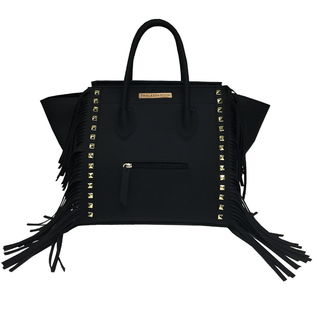 Handbags, Bag with Fringes & Studs in Black, Thalassa Boom Resort Wear, Designer Resort Wear