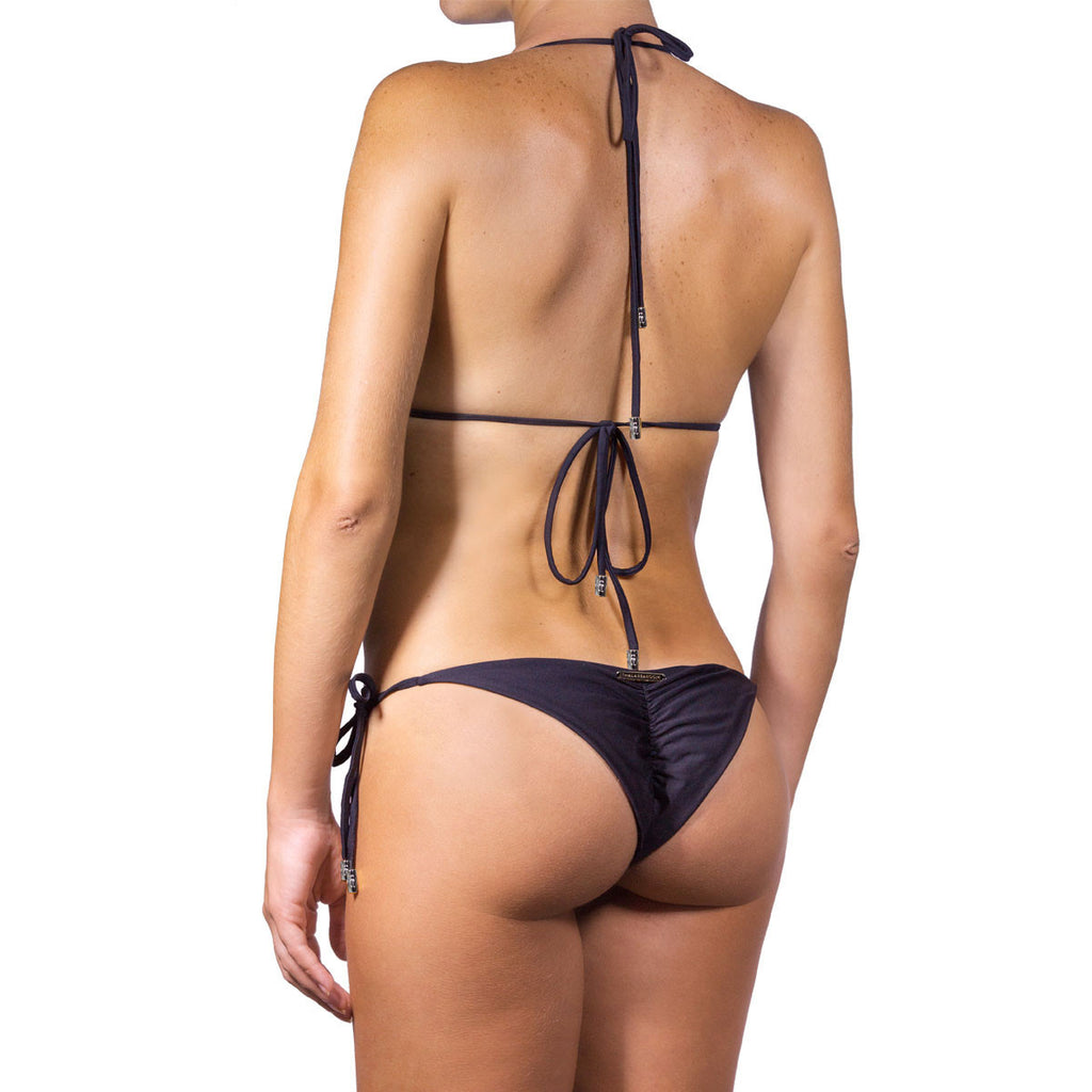 Swimwear - Black One Piece Monokini Swimsuit with Swarovski Crystals -  Thalassa Boom Resort Wear