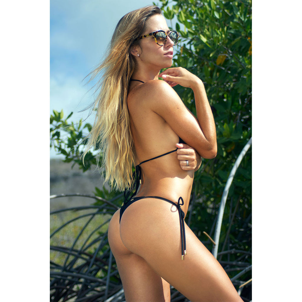 Thalassa Boom Resort Wear, Black Skimpy Tie Sides Bikini Bottom, Designer swimwear