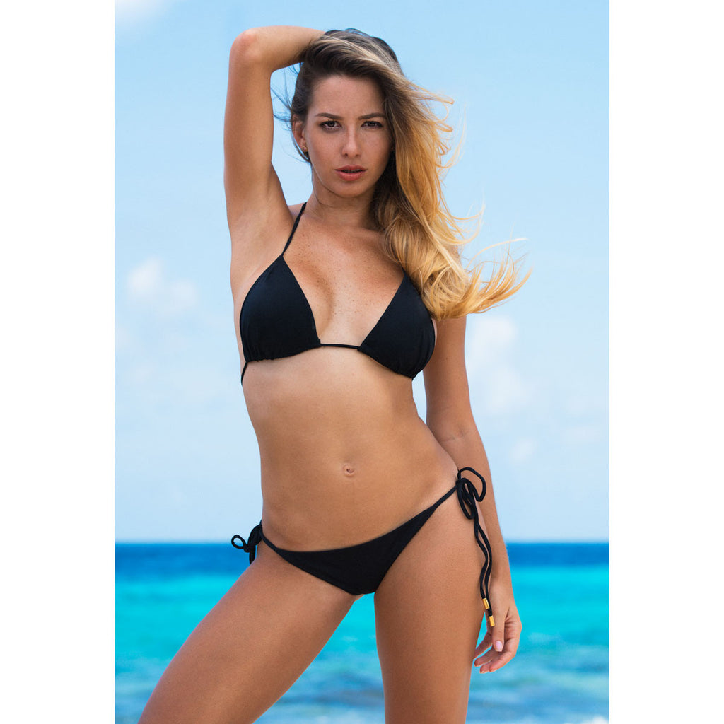 Thalassa Boom Resort Wear, Black Solid Triangle Bikini Top, Designer Swimwear