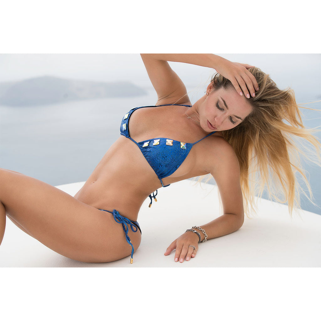 Swimwear - Alligator Blue Ruched Back Tie Sides Bikini Bottom with Swarovski Crystals -  Thalassa Boom - 5