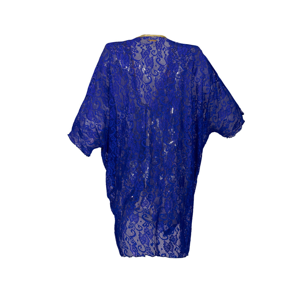 Cover-ups, Short Kimono in Cobalt Blue Lace, Thalassa Boom Resort Wear