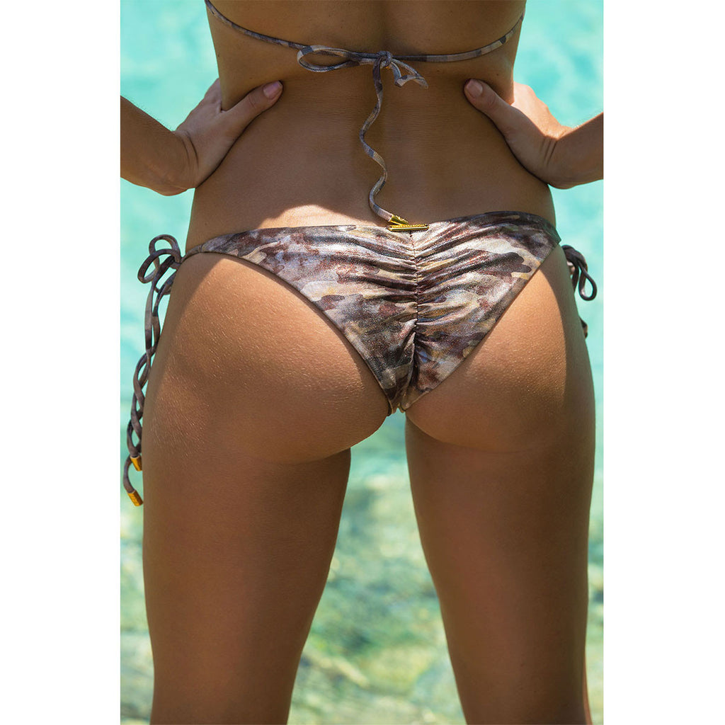 Swimwear - Camouflage Gold Ruched Back Tie Sides Bikini Bottom with Swarovski Crystals -  Thalassa Boom - 6