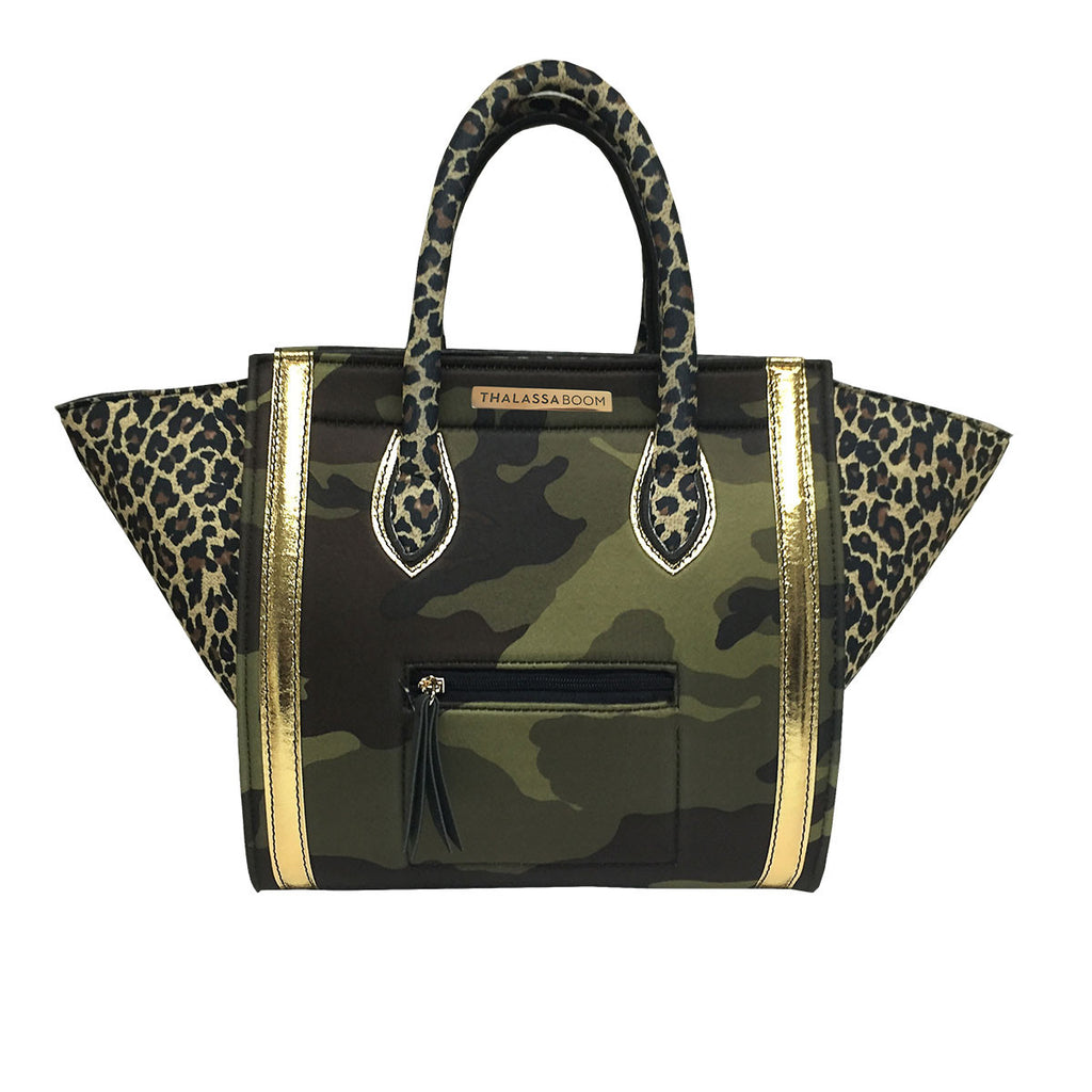 Bags - Bag in Cheetah & Gold & Camouflage Print -  Thalassa Boom - 1