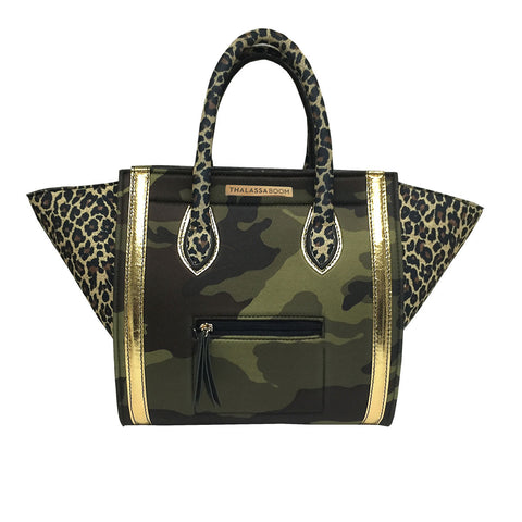 Bag with Fringes and Studs in Camouflage Print