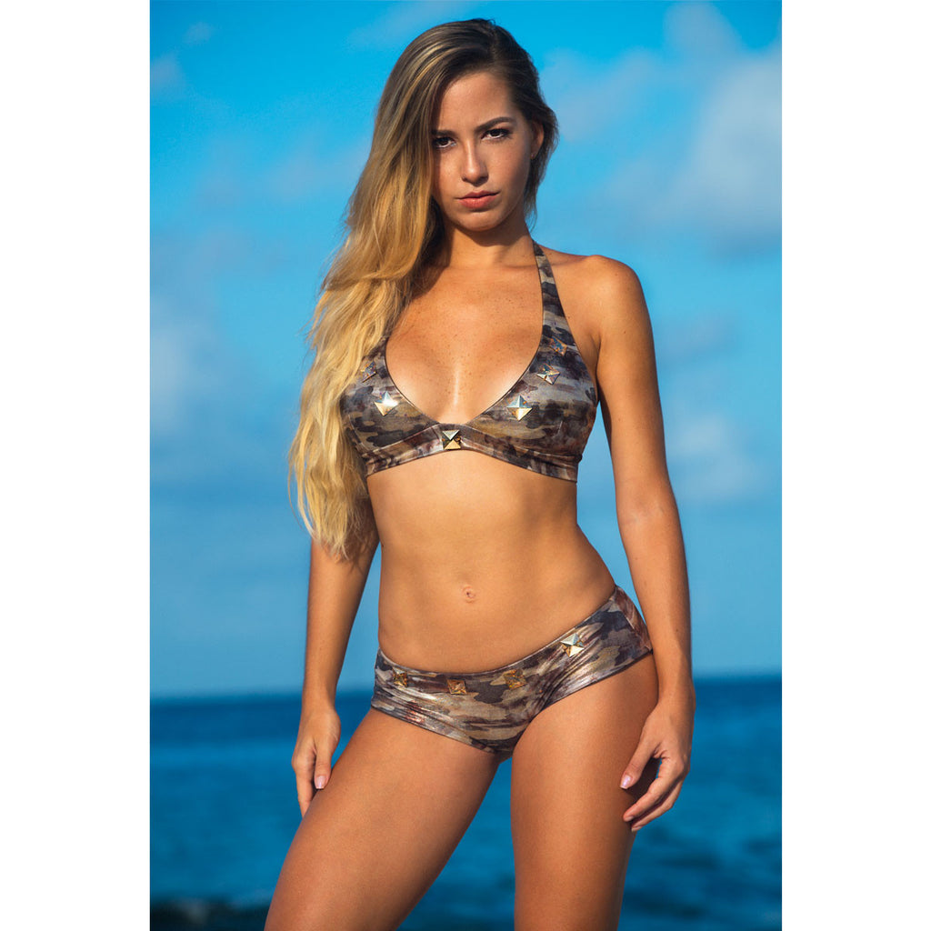 Thalassa Boom Resort Wear, Camouflage Gold Bikini Boy Shorts Bottom with Swarovski Crystals, Designer Swimwear