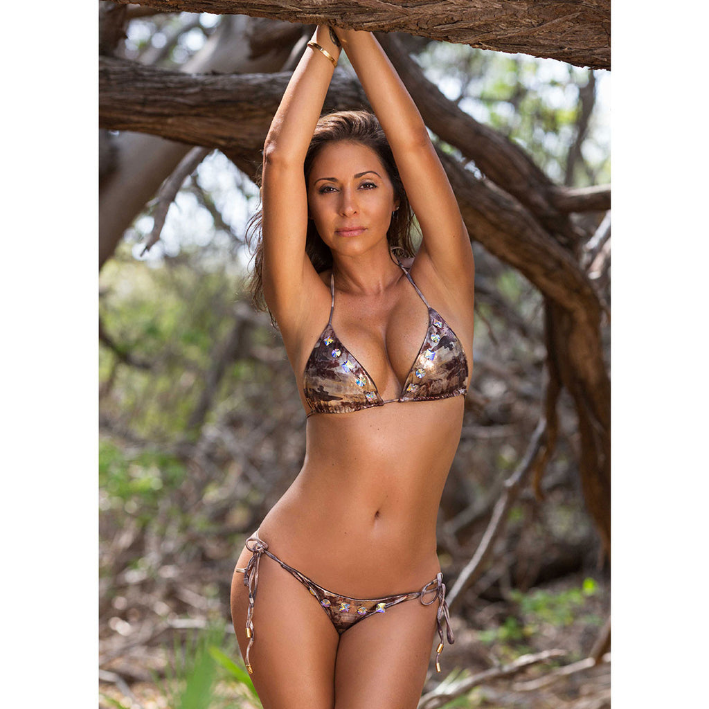 Swimwear - Camouflage Gold Ruched Back Tie Sides Bikini Bottom with Swarovski Crystals -  Thalassa Boom - 5