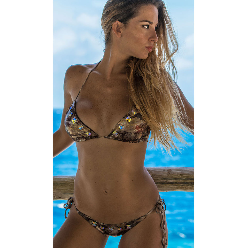 Thalassa Boom Resort Wear, Camouflage Gold Triangle Bikini Top with Swarovski Crystals, Designer Swimwear
