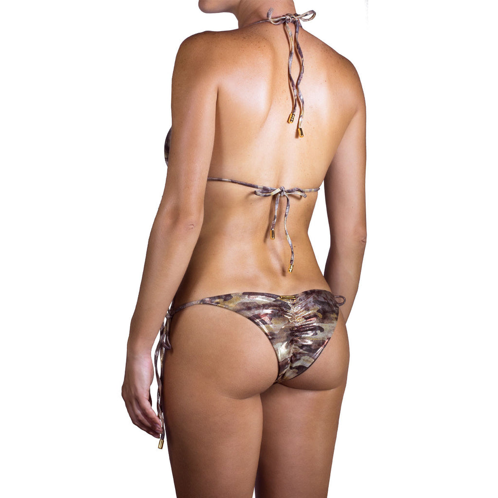 Swimwear - Camouflage Gold Ruched Back Tie Sides Bikini Bottom with Swarovski Crystals -  Thalassa Boom - 9