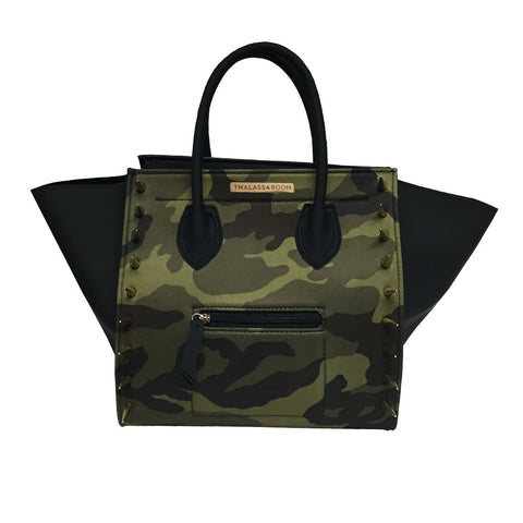 Bag with Spikes & Camouflage Print