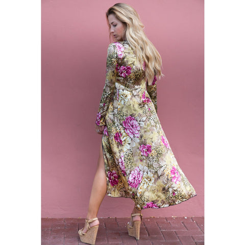 Long Kimono with  Flowery Cheetah Print in Silk -  Thalassa Boom