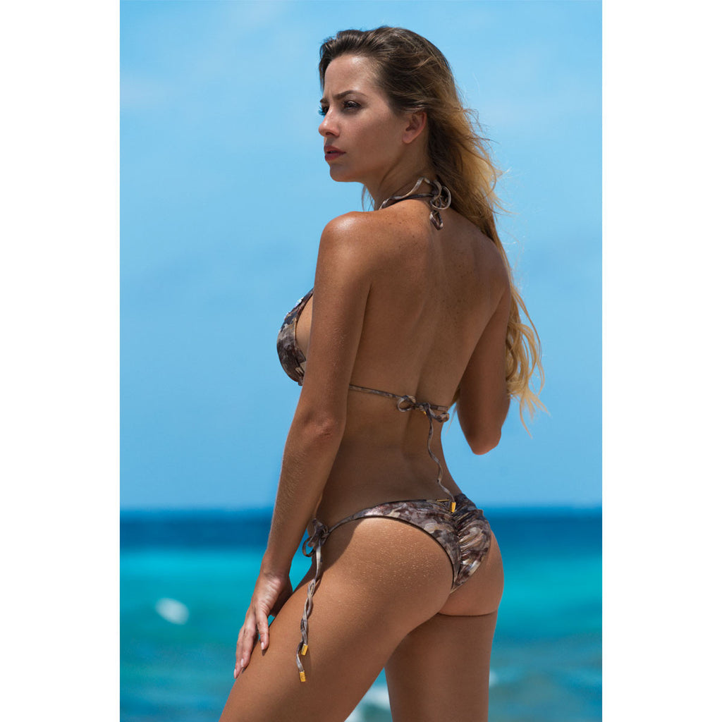 Swimwear - Camouflage Gold Ruched Back Tie Sides Bikini Bottom with Swarovski Crystals -  Thalassa Boom - 1