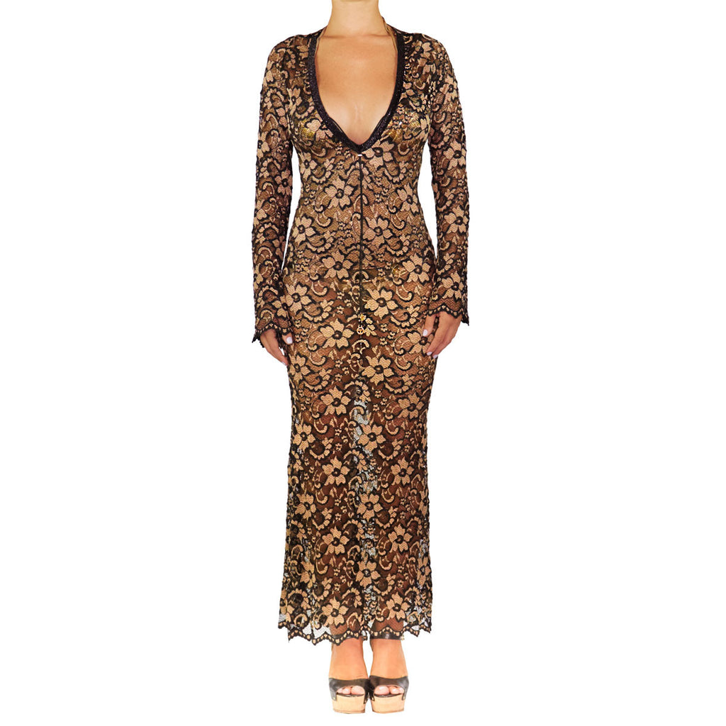 Cover Ups - Fitted Gown Gold & Black Lace -  Thalassa Boom Resort Wear