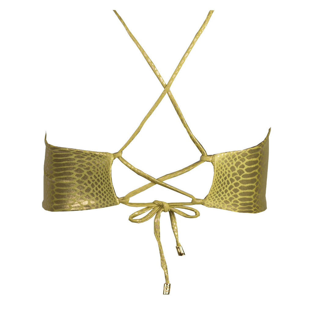 Thalassa Boom Resort Wear, Snake Gold Bralette Bikini Top with Swarovski Crystals, Designer swimwear