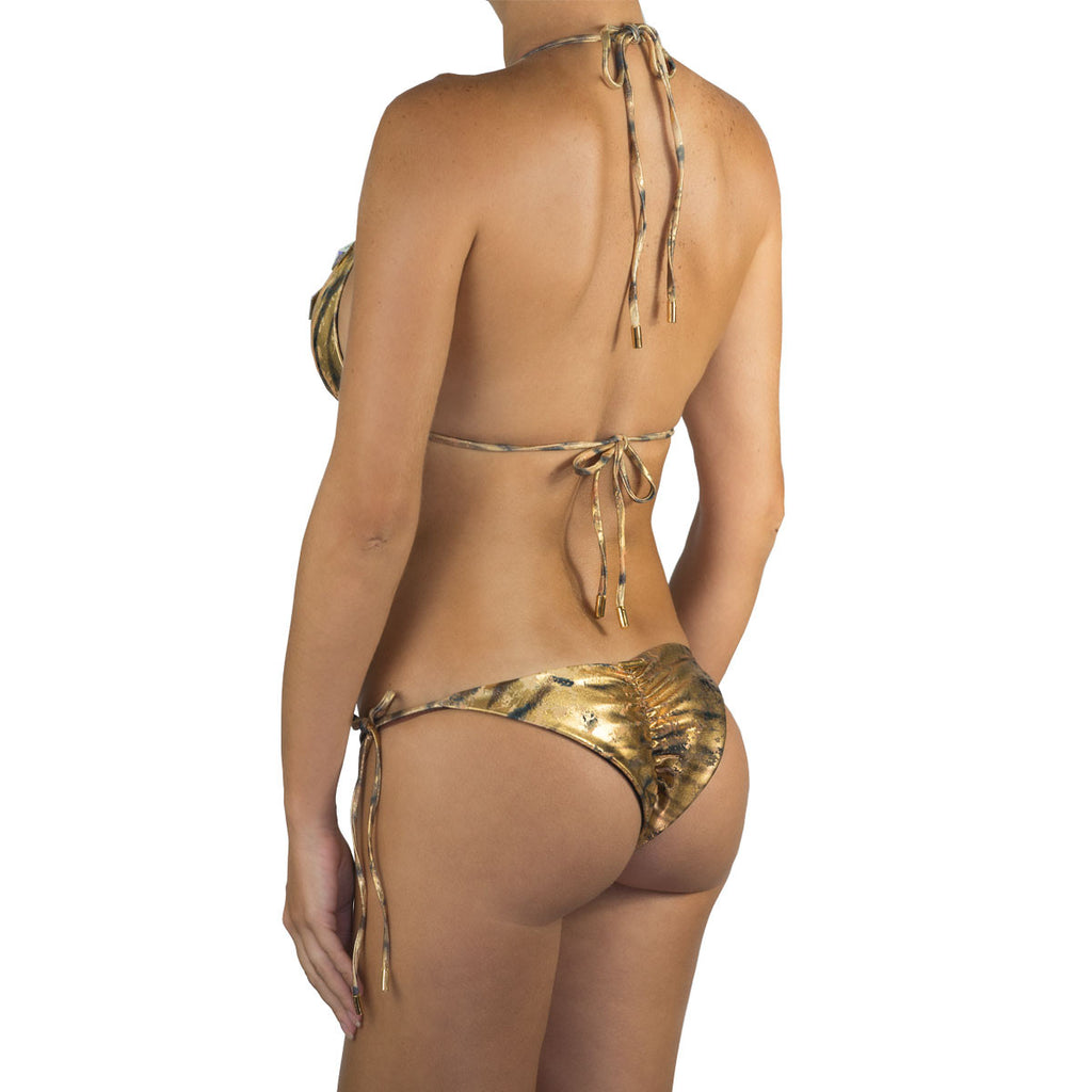 Thalassa Boom Resort Wear, Tiger Gold Ruched Back Tie Sides Bikini Bottom with Swarovski Crystals, Designer swimwear
