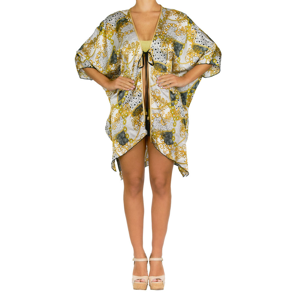 Cover-Ups, Short Kimono with Gold Chains Print in Silk, Thalassa Boom Resort Wear