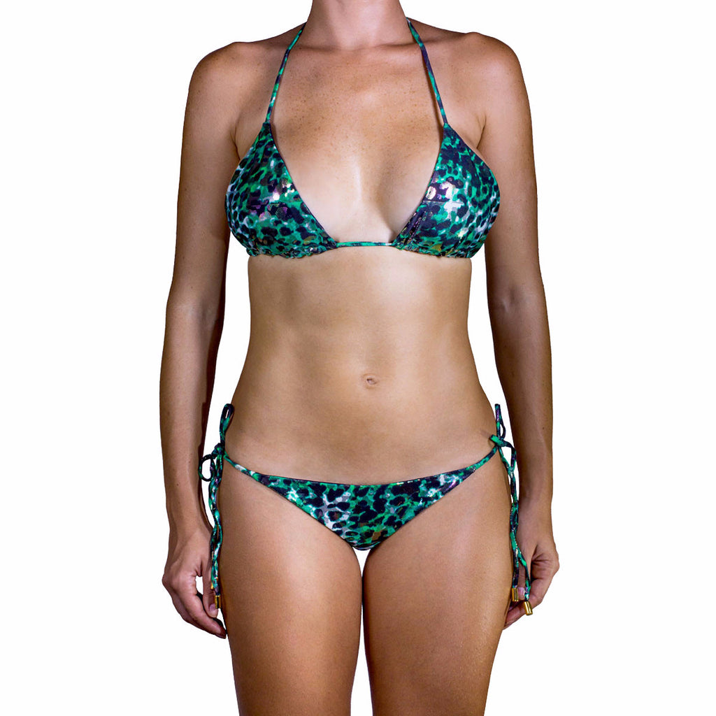 Swimwear - Animal Green Ruched Back Tie Sides Bikini Bottom -  Thalassa Boom - 9