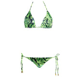 Thalassa Boom Resort Wear, Snake Lime Green Ruched Back Tie Sides Bikini Bottom, designer swimwear