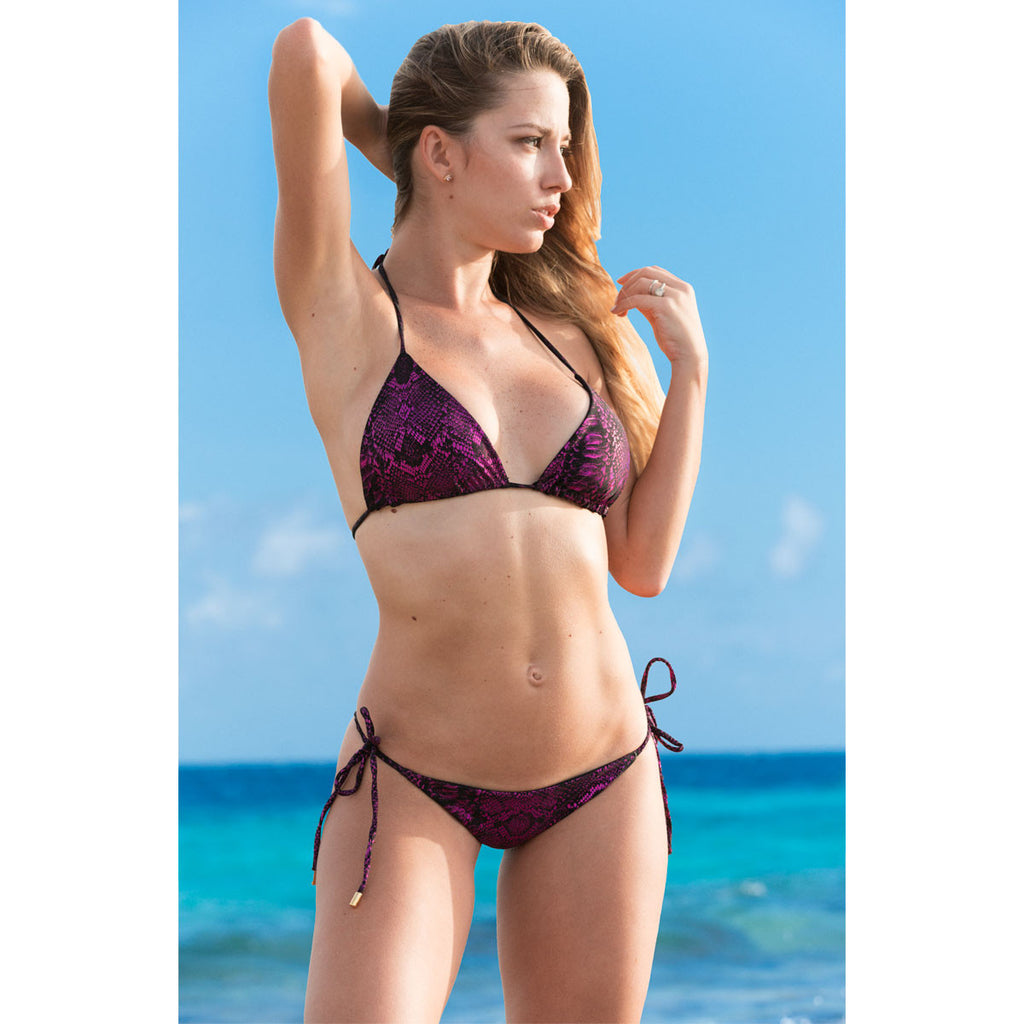 Swimwear - Snake Hot Pink Ruched Back Tie Sides Bikini Bottom -  Thalassa Boom - 2