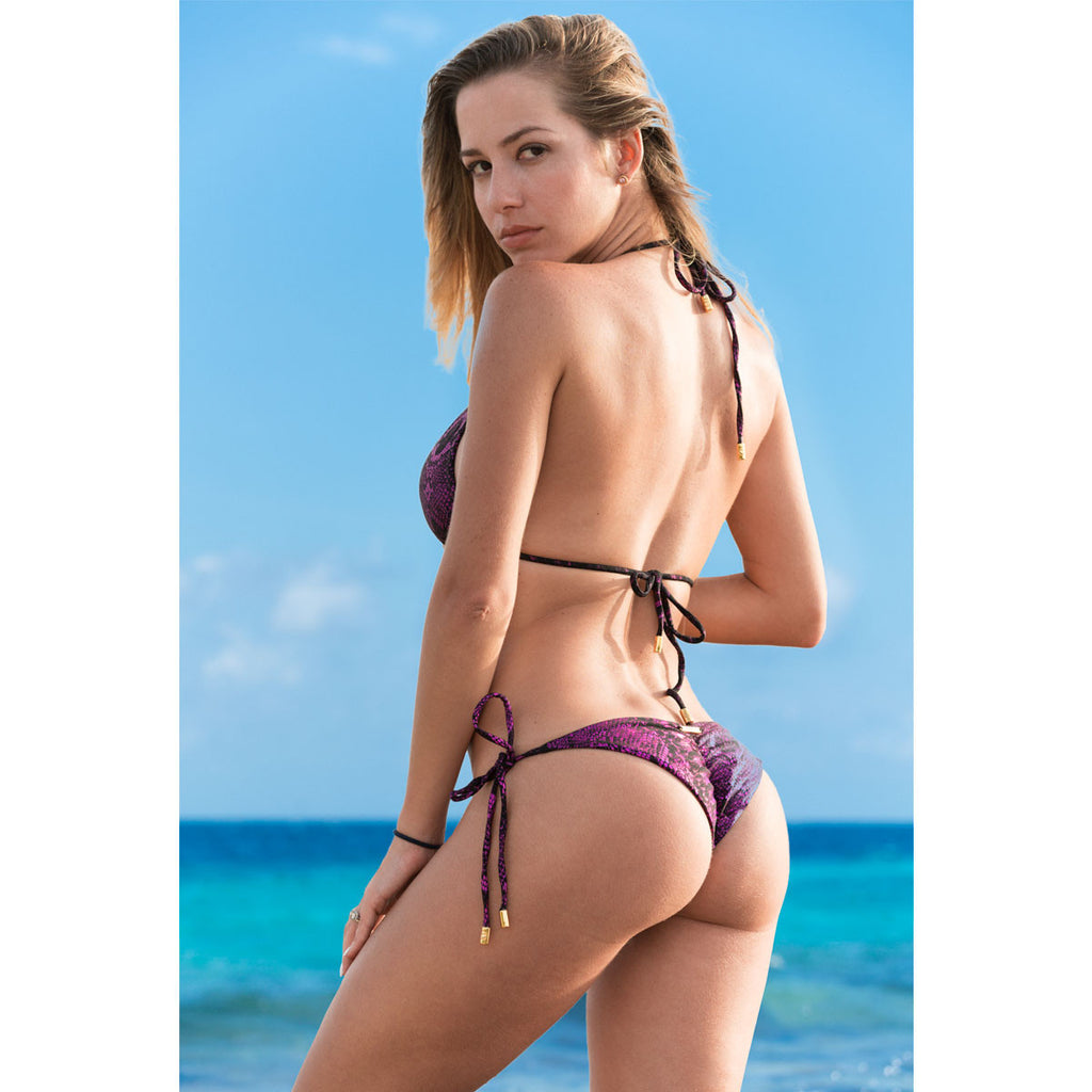Swimwear - Snake Hot Pink Ruched Back Tie Sides Bikini Bottom -  Thalassa Boom - 1
