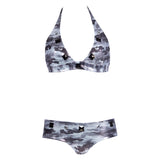 Thalassa Boom Resort Wear, Camouflage Silver Halter Bikini Top with Swarovski Crystals, Designer swimwear