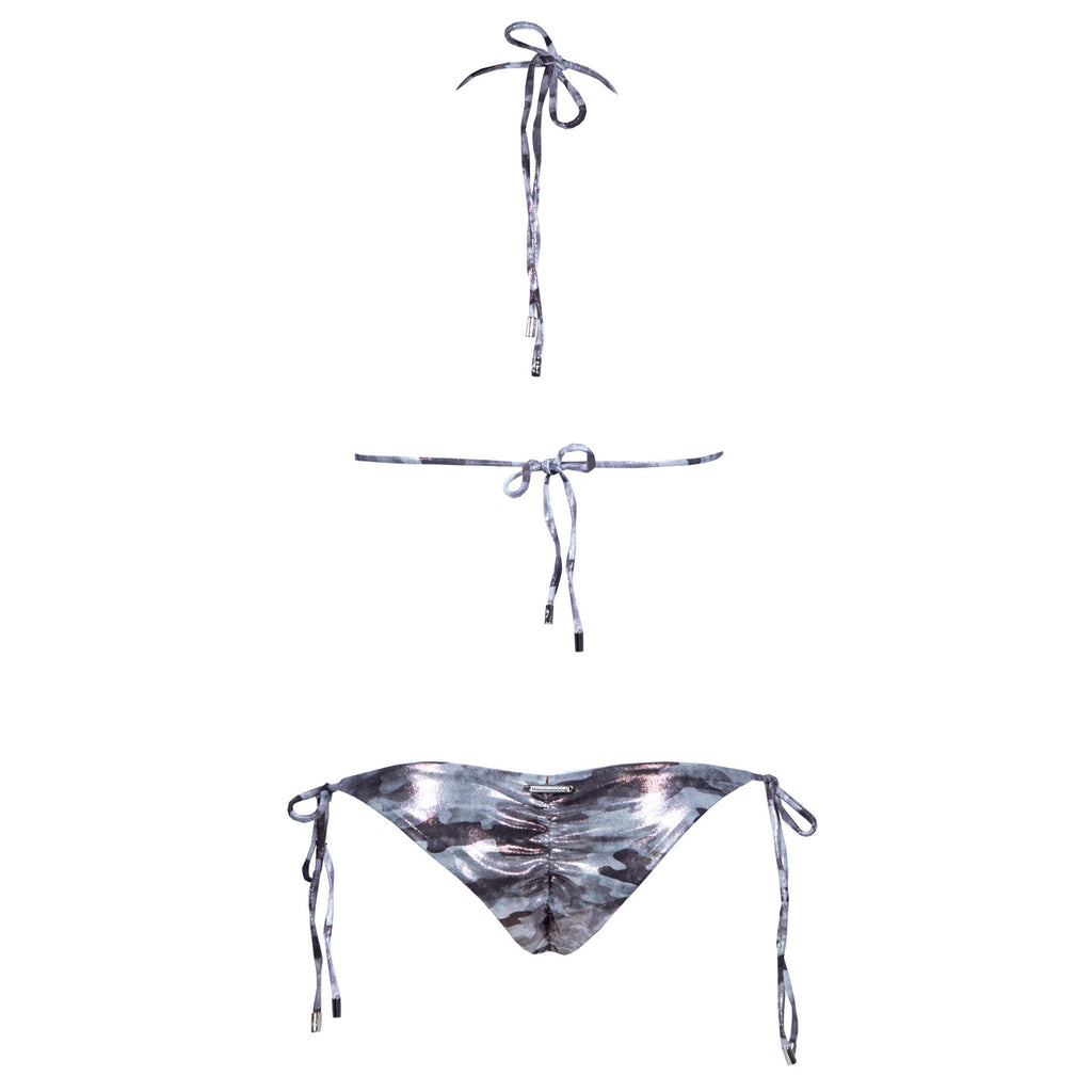 Camouflage Silver Ruched Back Tie Sides Bikini Bottom with Swarovski Crystals -  Thalassa Boom