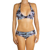 Thalassa Boom Resort Wear, Camouflage Silver Boy Shorts Bikini Bottom with Swarovski Crystals, Designer swimwear
