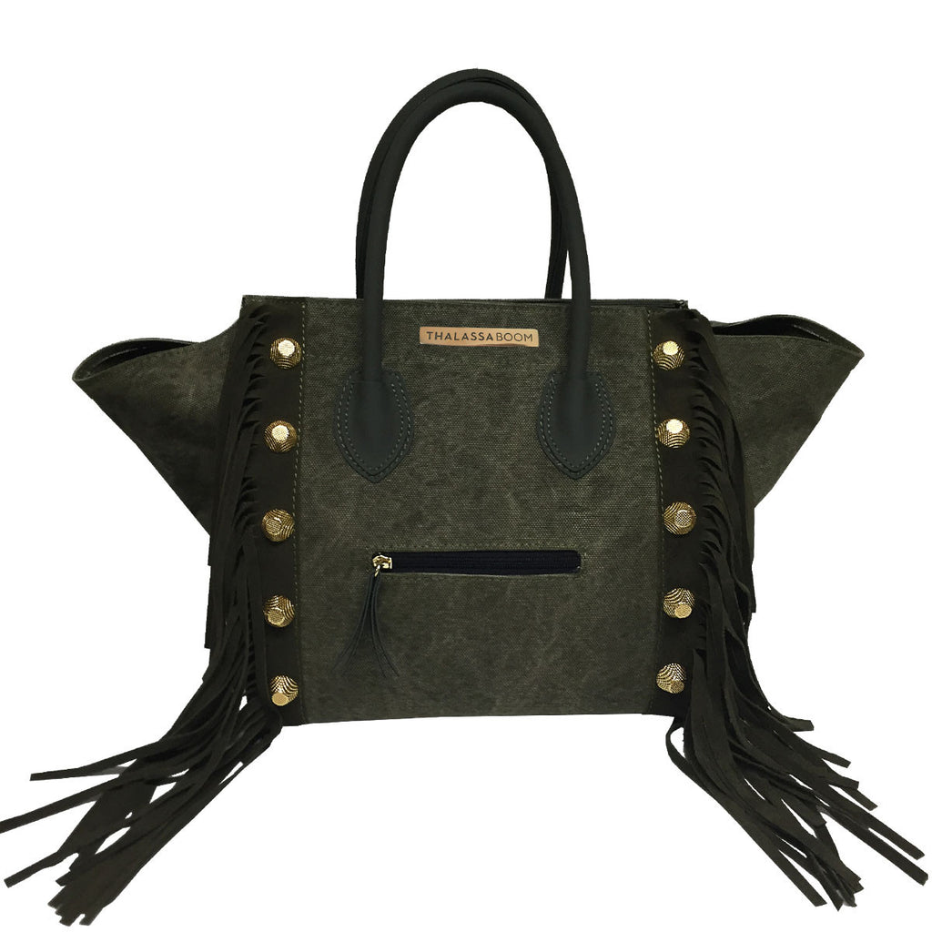 Handbags, Bag Military with Fringes & Studs, Thalassa Boom Resort Wear