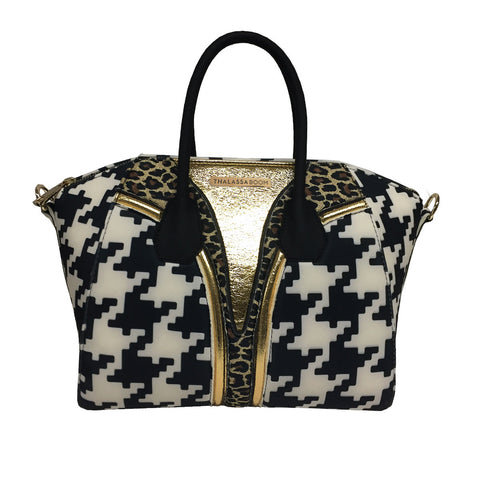 Bag in Cheetah & Pied Poule Print