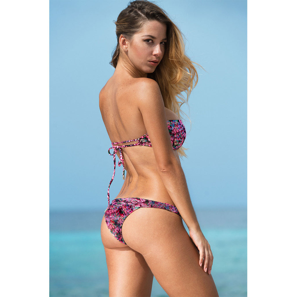 Thalassa Boom Resort Wear, Snake Pink Cheeky Bikini Bottom, Designer swimwear
