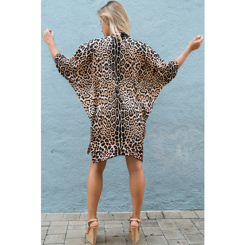 Short Kimono with beautiful Leopard Print in Silk -  Thalassa Boom
