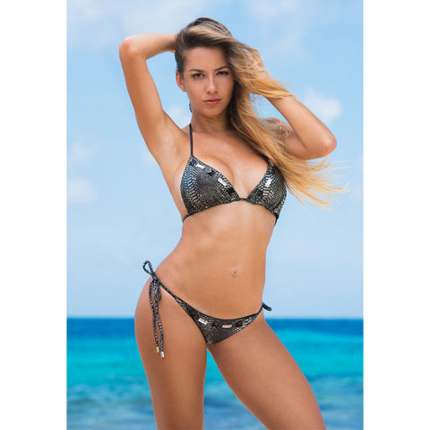 Snake Silver Triangle Bikini Top with Swarovski Crystals