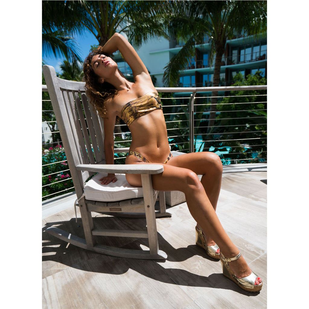 Thalassa Boom Resort Wear, Tiger Gold Cheeky Bikini Bottom, Designer Swimwear