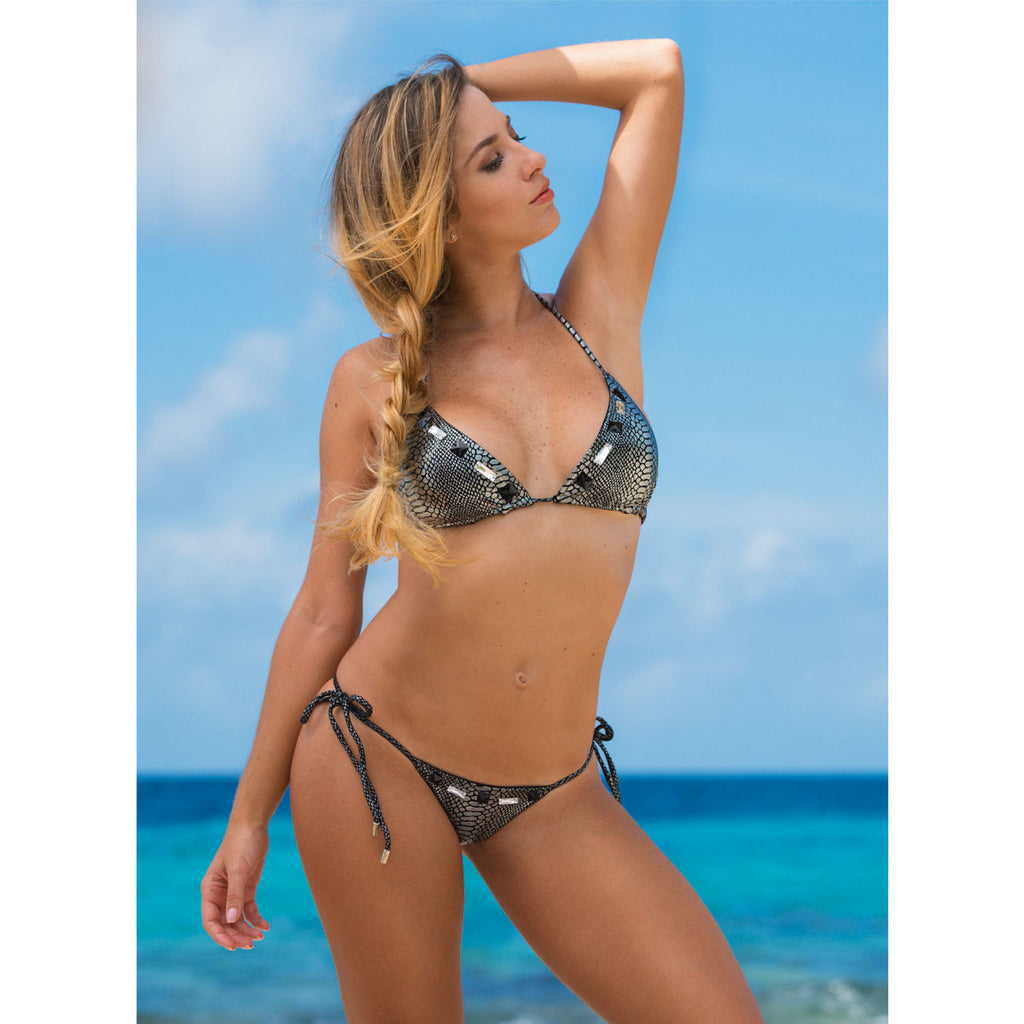 Thalassa Boom Resort Wear, Snake Silver Skimpy Tie Sides Bikini Bottom with Swarovski Crystals, Designer swimwear