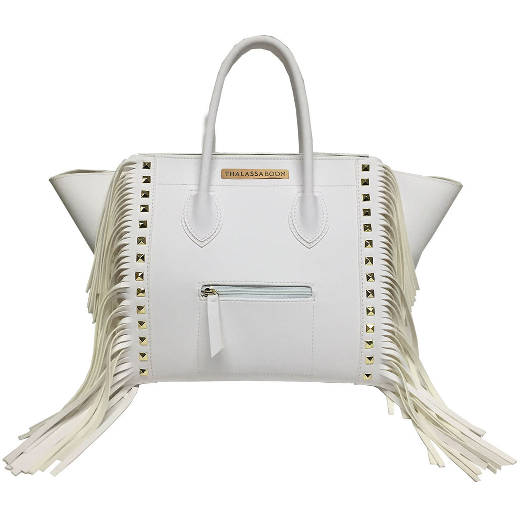 Bag with Fringes & Studs in White -  Thalassa Boom