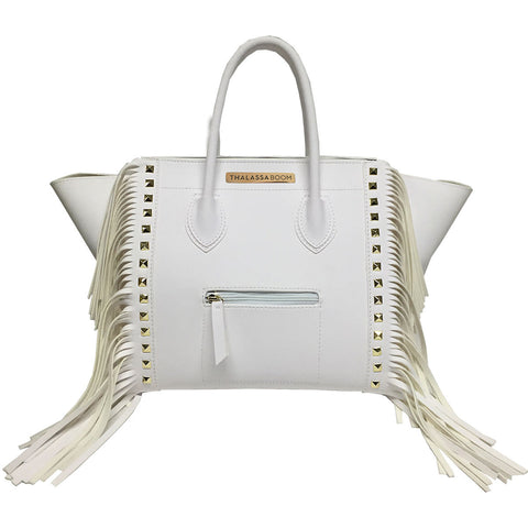 Bag with Fringes & Studs in White