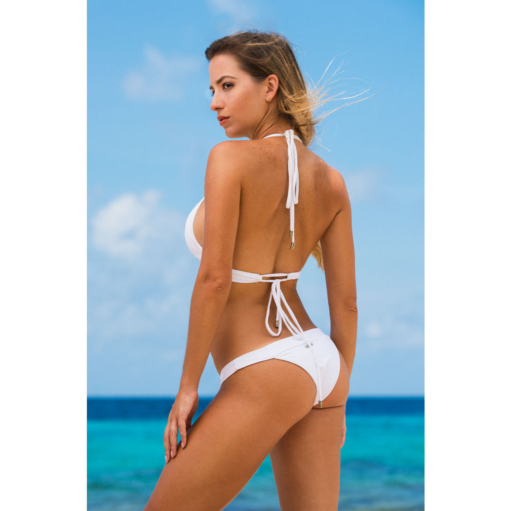 Swimwear - White Cheeky Bikini Bottom with Swarovski Crystals -  Thalassa Boom - 1