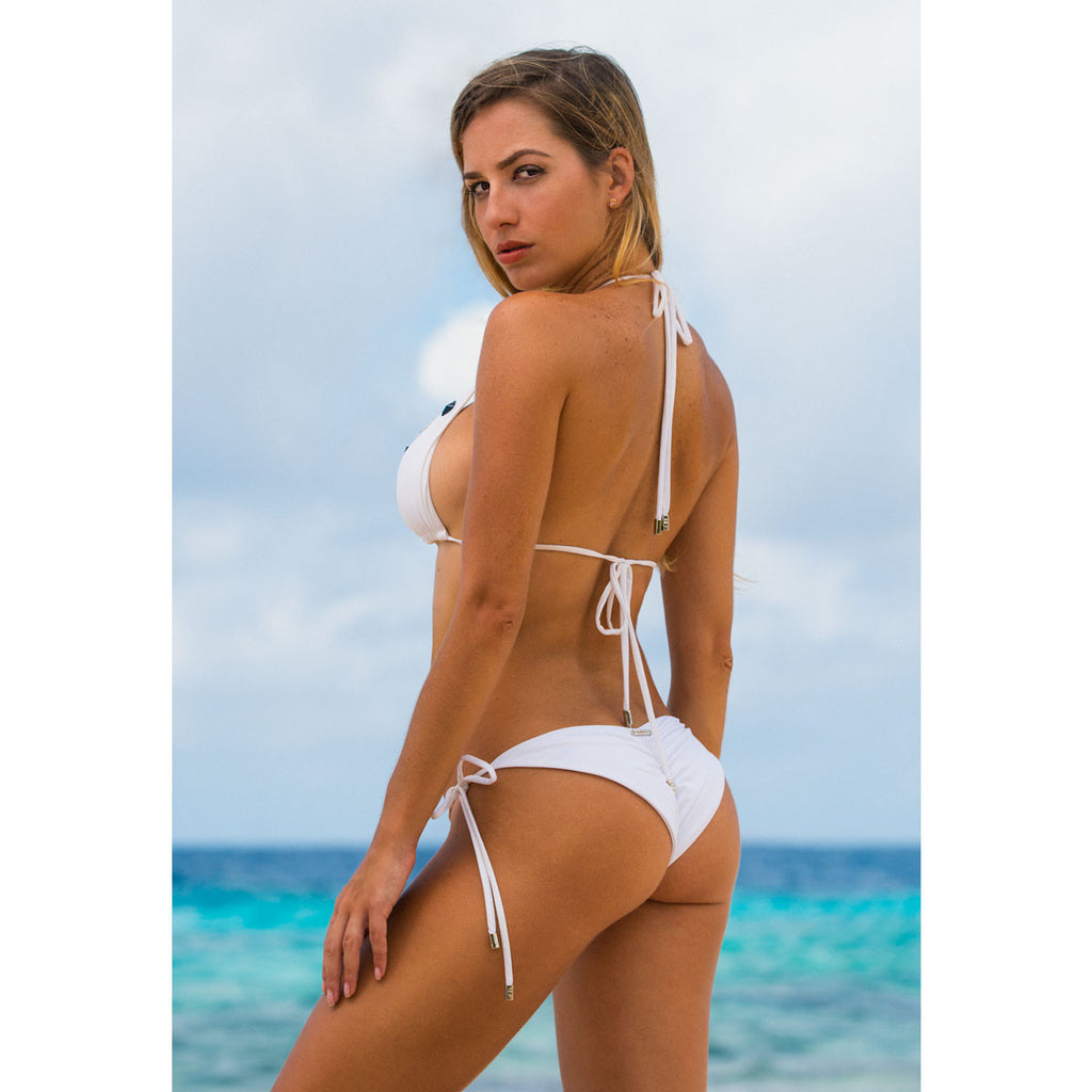 Thalassa Boom Resort Wear, White Ruched Back Tie Sides Bikini Bottom with Swarovski Crystals, Designer swimwear